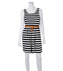 A. Byer Striped Belted Dress