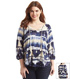 Eyeshadow® Plus Size Geo Print Blanket Top