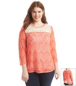Eyeshadow® Plus Size Geo Print Slub Top