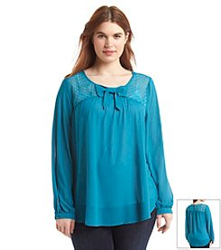 Eyeshadow® Plus Size Chiffon Bow Blouse