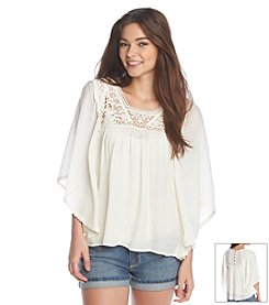 Jolt® Circle Crochet Trim Peasant Top