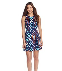 Sequin Hearts® Printed Scuba Skater Dress