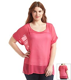 Eyeshadow® Plus Size Studed Chiffon Dolman Top