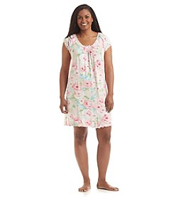 Miss Elaine® Plus Size Pink Floral Nightgown