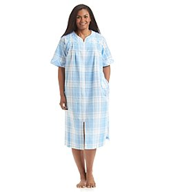 Miss Elaine® Plus Size Blue Plaid Zip Robe