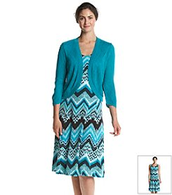 Notations® Multi Chevron Print Dress With Shrug