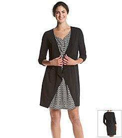 Notations® Multi Print Dress With Attached Cardigan