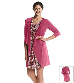 Notations® Printed Dress With Attached Cardigan