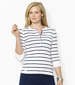 Lauren Jeans Co.® Plus Size Striped Pocket Henley