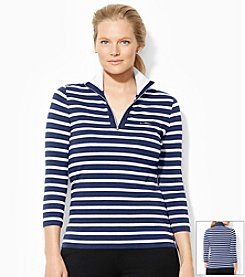 Lauren Active® Plus Size Striped Mockneck Pullover
