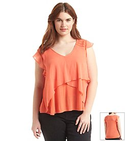 Jessica Simpson Plus Size Maybel Flutter Sleeve Top