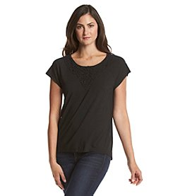 Chaus Lace Neck Tee