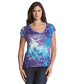 Chaus Blurred Waves Embellished V-Neck Tee