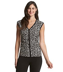 Chaus Ruched Leopard Top