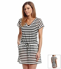 Calvin Klein Striped Mesh Vneck Cover Up