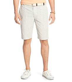 Izod® Men's Flat Front Poplin Grid Shorts