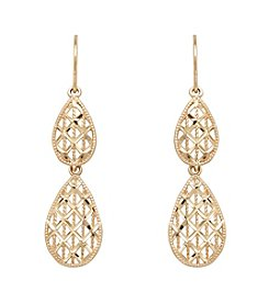 10K Yellow Gold Pear Drop Earrings