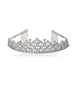 BT-Jeweled Large Silvertone Tiara with Rhinestone Drops