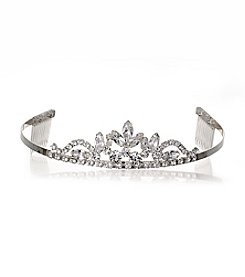 BT-Jeweled Medium Sized Silvertone and Rhinestone Tiara