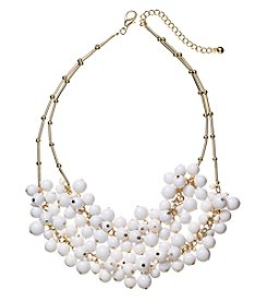 Studio Works® White Beaded And Goldtone Two Row Cluster Necklace