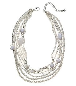 Studio Works® White And Silvertone Six Row Chain And Beaded Necklace