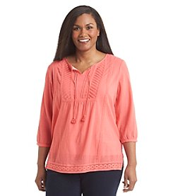 Studio Works® Plus Size Lace Peasant Top