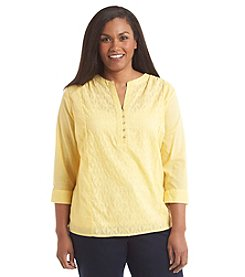 Studio Works® Plus Size Henley Peasant Top