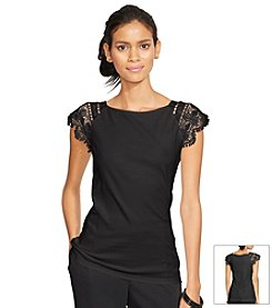 Lauren Ralph Lauren® Lace-Sleeved Cotton Top