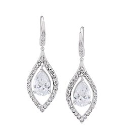 Carolee® Silvertone Crystal Stems Clear Teardrop Pierced Earrings