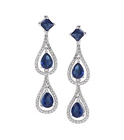 Carolee® Silvertone Crystal Stems Blue Linear Drop Pierced Earrings