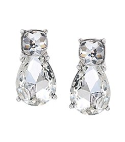 Carolee® Silvertone Catch The Bouquet Crystal Drop Pierced Earrings