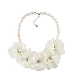 Carolee® Silvertone Catch The Bouquet Fabric Frontal Floral Necklace