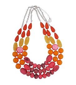 Erica Lyons® Silvertone Triple Row Beaded Statement Necklace