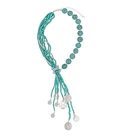 Erica Lyons® Silvertone Southwest Sassy Tassel With Charms Necklace