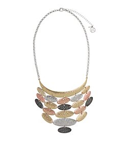 Erica Lyons® Tri Tone Mixed Ovals Bib Necklace