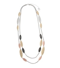 Erica Lyons® Tri Tone Double Strand Necklace