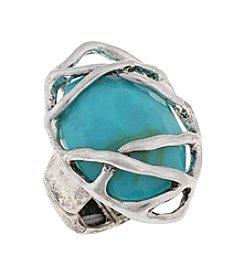Erica Lyons® Silvertone Southwest Sassy Caged Stone Stretch Ring