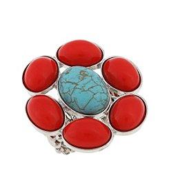 Erica Lyons® Silvertone Southwest Sassy Flower Stone Stretch Ring