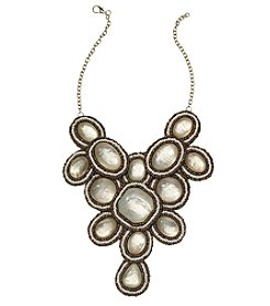 Natasha Goldtone Beaded Stone Bib Necklace
