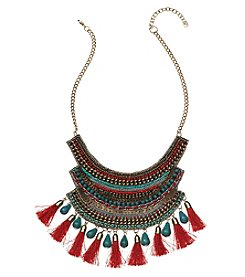 Natasha Goldtone Tassel Bib Necklace