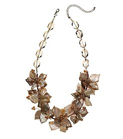 Natasha Silvertone Shell Floral Natural Necklace
