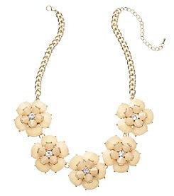 Natasha Goldtone Five Flower Natural Necklace