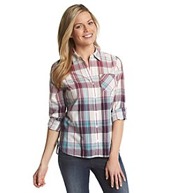 Relativity® Ombre Plaid Roll Sleeve Utility Shirt