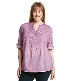 Relativity® Plus Size Sequin Woven Bib Shirt