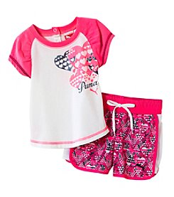 PUMA® Baby Girls' Hearts Shorts Set