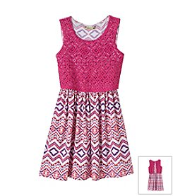 Speechless® Girls' 7-16 Knee Length Dress With Popover