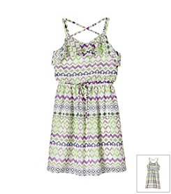 Speechless® Girls' 7-16 Knee Length Chevron Pattern Dress