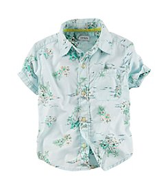 Carter's® Boys' 2T-7 Short Sleeve Button Up Print Top