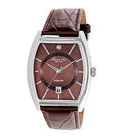 Kenneth Cole New York® Men's Diamond Watch with Brown Leather Strap