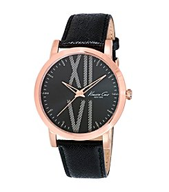 Kenneth Cole New York® Men's Rose Goldtone Watch with Black Leather Strap
